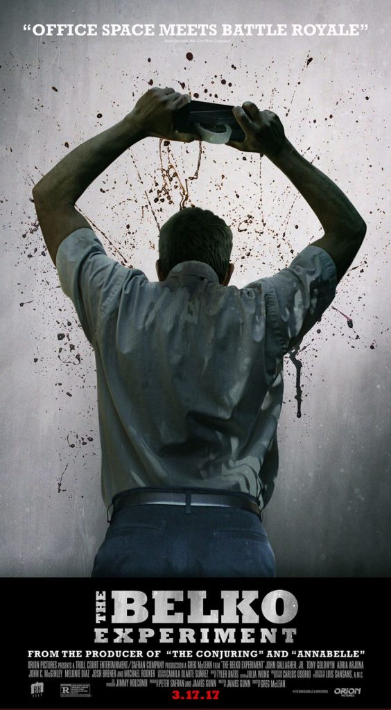"Official poster and red band trailer for ""The Belko Experiment"", written by James Gunn"